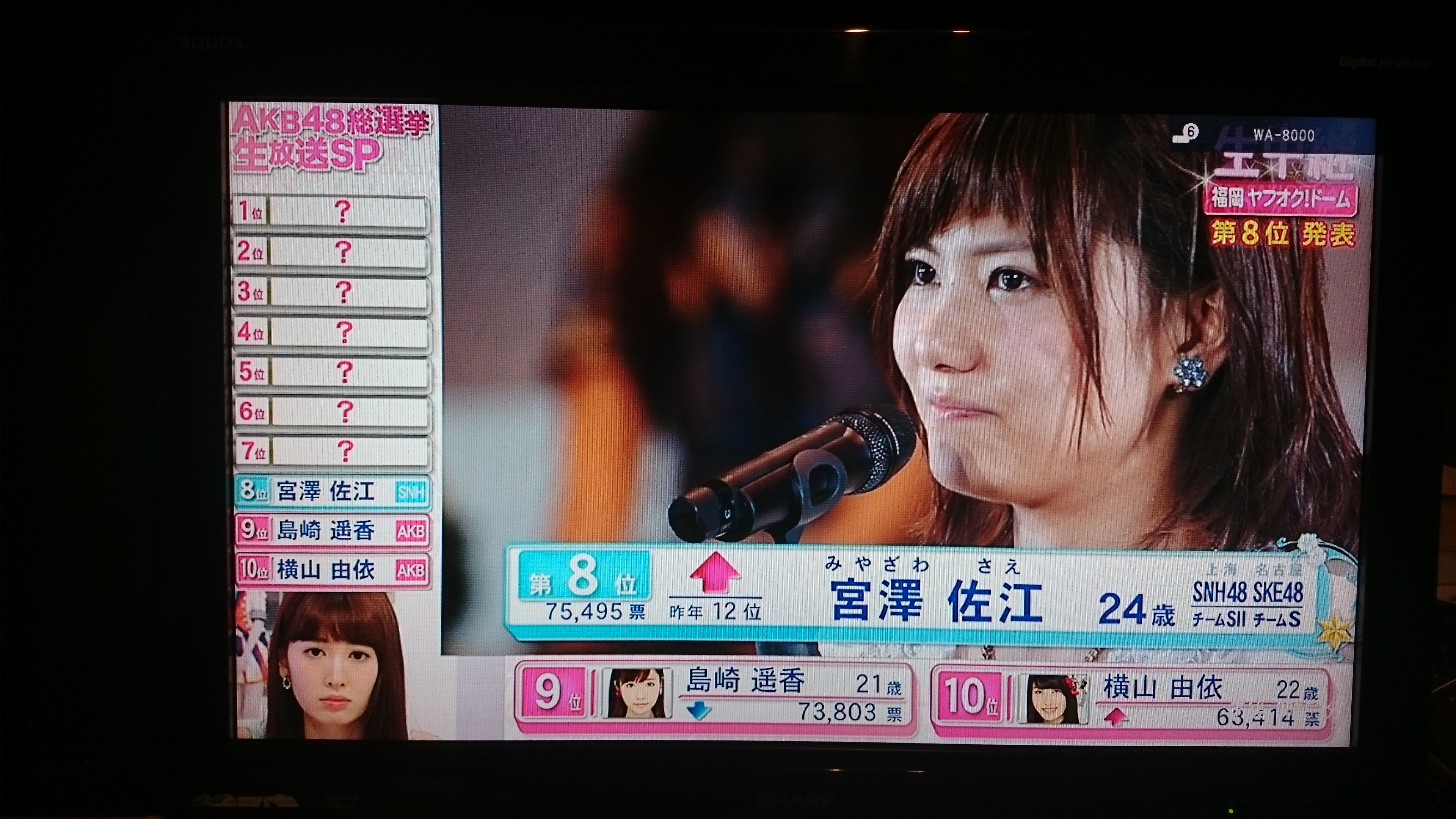 【AKB48 41stシングル 選抜総選挙】宮澤佐江ちゃん神7よりも輝いた8位を獲得!